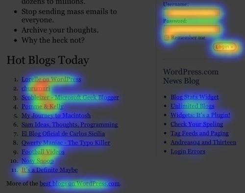 Crazyegg website heatmap