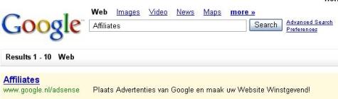 Google resultaat voor Affiliates promotie