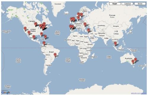 Bezoekers van over de hele wereld