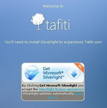 Tafiti vraagt om SilverLight te installeren