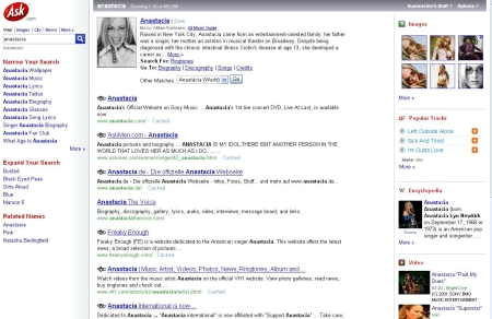 Search Resultspage van Ask.com