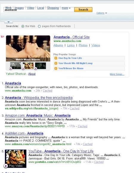 Amerikaanse resultaten pagina van Yahoo