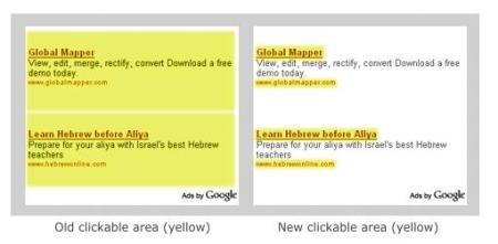 gewijzigd klik gebied in Google Adsense blokken