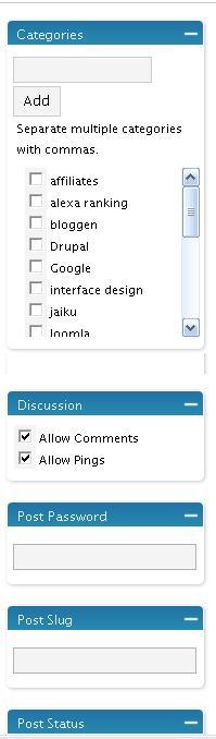 De oude WordPress sidebar