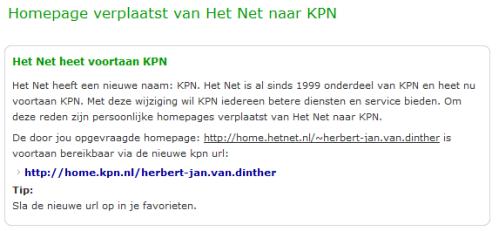 Redirects van Het Net naar Kpn.com